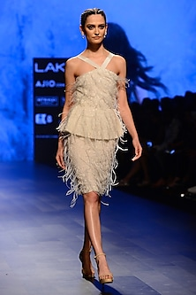 Off White Hand Embroidered Dress by AGT By Amit GT
