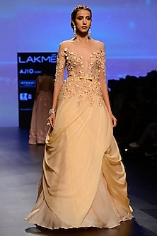 Peach Floral Embroidered Pleated Drape Gown by AGT By Amit GT