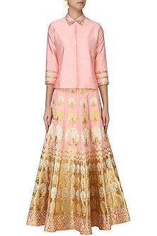 Pink Banarasi Lehenga with Sequins Embroidered Shirt by Amaira