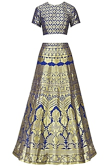 Royal Blue Banarasi Lehenga Set by Amaira