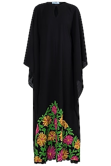Black Embroidered Kaftan by Amaira
