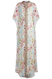 Ivory Embroidered Printed Kaftan