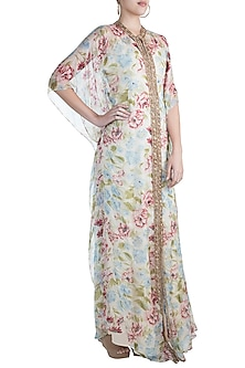 Ivory Embroidered Printed Kaftan by Amaira