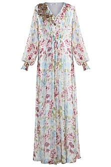 Ivory Embroidered Floral Printed Kaftan by Amaira