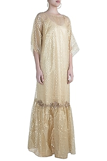 Golden Embroidered Kaftan With Inner by Amaira