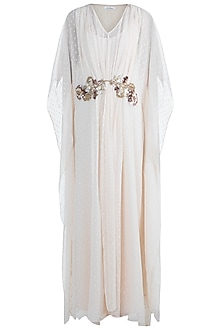 Pale Peach Embellished Kaftan With Inner