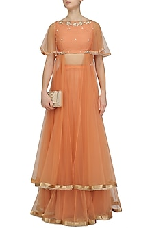 Orange Floral Embroidered Crop Top and Skirt Set by Amaira
