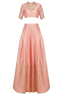 Peach Floral Embroidered Blouse and Lehenga Set by Amaira