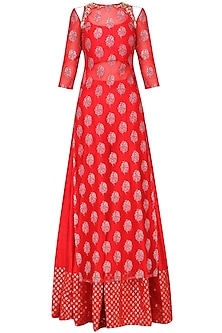 Red Embroidered Kurta Sharara Set by Amaira