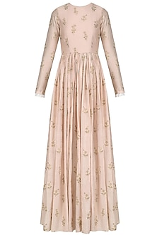 Blush Pink Floral Embroidered Anarkali