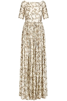 Ivory Floral Embroidered Pleated Anarkali