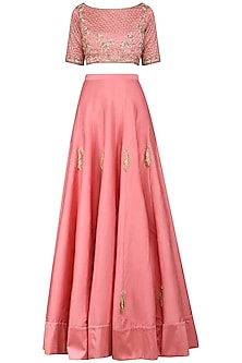 Dusty Pink Embroidered Lehenga Set