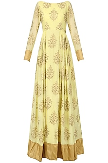 Lime Yellow Anarkali Gown by Amaira