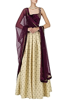 Burgundy and Beige Embroidered Lehenga Set by Amaira