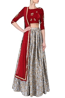 Maroon and Grey Embroidered Lehenga Set by Amaira
