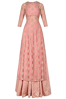 Dusty Pink Embroidered Kurta Lehenga Set by Amaira