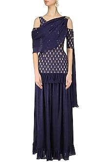 d90f24dfcc Darkslate Blue Cold Shoulder Embroidered Kurta Sharara Set by Amaira