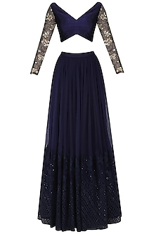 Darkslate Blue Embroidered Lehenga Set