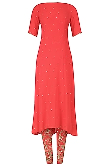 Coral Red Embroidered Kurta Set