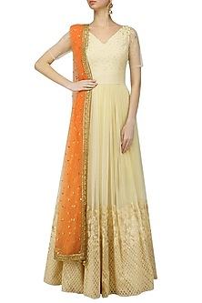 Cream and Dusky Orange Embroidered Anarkali Set by Amaira