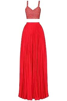 Red Embroidered Lehenga Set
