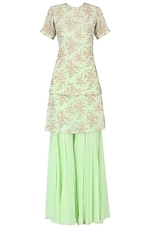 Pista Green Embroidered Kurta with Gharara Set