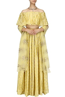 Yellow Off Shoulder Embroidered Lehenga Set by Amaira