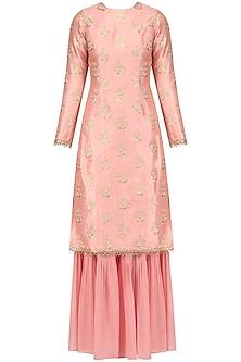 Dusky Pink Embroidered Kurta and Garara Set