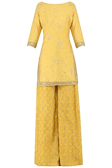 Butter Yellow Embroidered Kurta with Sharara Pants Set