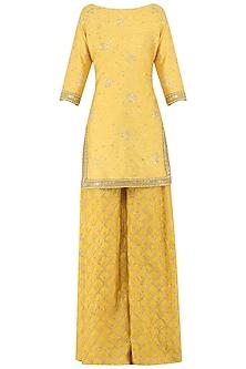 Butter Yellow Embroidered Kurta with Sharara Pants Set by Amaira