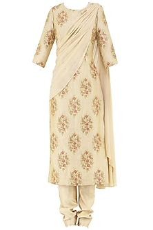 Gold Embroidered Drape Kurta with Straight Pants by Amaira