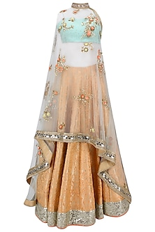 Orange Handwoven Brocade Lehenga with Blue Bustier and Floral Work Cape