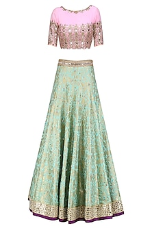 Turquoise Blue Handwoven Brocade Lehenga with Pink Embroidered Blouse