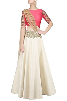 Off White Quilted Floral Work Lehenga with Red Blouse and Attached Dupatta by Amit Sachdeva