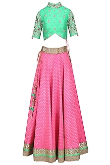 Hot Pink Banarasi Silk Lehenga with Green Floral Work Blouse