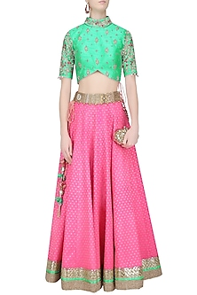 Hot Pink Banarasi Silk Lehenga with Green Floral Work Blouse by Amit Sachdeva