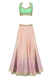 Pink Shaded Sequins and Thread Work Lehenga with Mint Green Blouse