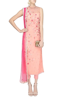 Peach Embroidered Long Kurta and Pants Set by Amit Sachdeva