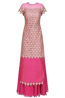 Hot Pink Embroidered Kurta and Sharara Pants Set