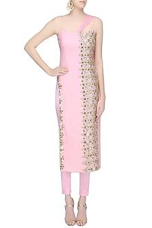 Powder Pink Embroidered Straight Kurta and Pants Set by Amit Sachdeva