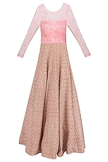 Pink and Gold Pearl and Crystal Embroidered Gown by Amit Sachdeva