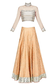 Nude Embroidered Crop Top and Brocade Lehenga Set