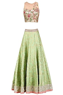 Green Paisley Pattern Handwoven Brocade Lehenga Set