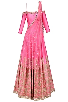 Hot Pink and Gold Embroidered Off Shoulder Gown with Attached Drape by Amit Sachdeva