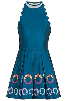 Teal Wreath Motifs Mini Dress