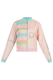 Powder pink wreath motifs bomber jacket