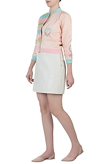 Powder pink wreath motifs bomber jacket by AMIT SACHDEVA