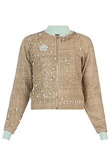 Gold embellished bomber jacket by AMIT SACHDEVA