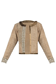 Gold pearl detailed bomber jacket