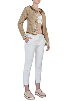 Gold pearl detailed bomber jacket by AMIT SACHDEVA